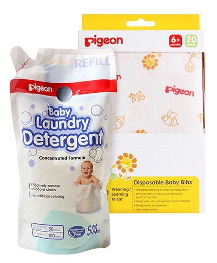 Pigeon Disposable Baby Bibs - Pack of 20 AND Pigeon Baby Laundry Detergent Refill Pack - 500 ml