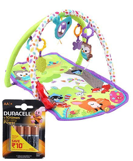Fisher Price Woodland Friends 3 In 1 Musical Activity Gym and Duracell AA Batteries - Pack Of 4