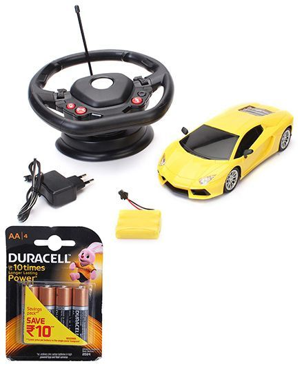 Majorette Lamborghini Gravity Remote Controlled Car Toy - Yellow and Duracell AA Batteries - Pack Of 4