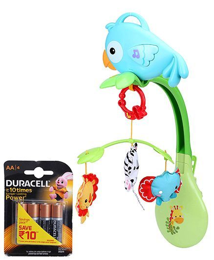 Fisher Price Rainforest Friends 3 In 1 Musical Mobile - Multicolor and Duracell AA Batteries - Pack Of 4