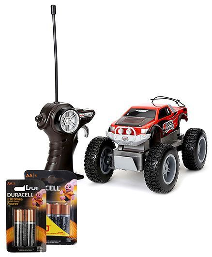 Maisto Remote Controlled Rock Crawler Junior - Red and Duracell AA Batteries - Pack Of 4 and Duracell AAA Batteries - Pack Of 2