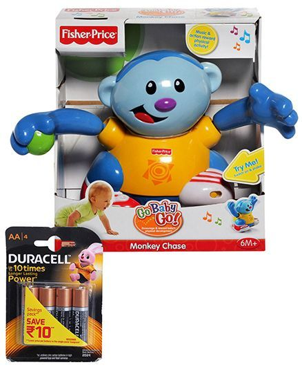 Fisher Price Go Baby Go Monkey Chase and Duracell AA Batteries - Pack Of 4