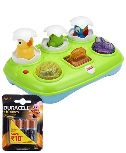 Fisher Price Musical Pop-Up Eggs - Green and Duracell AA Batteries - Pack Of 4