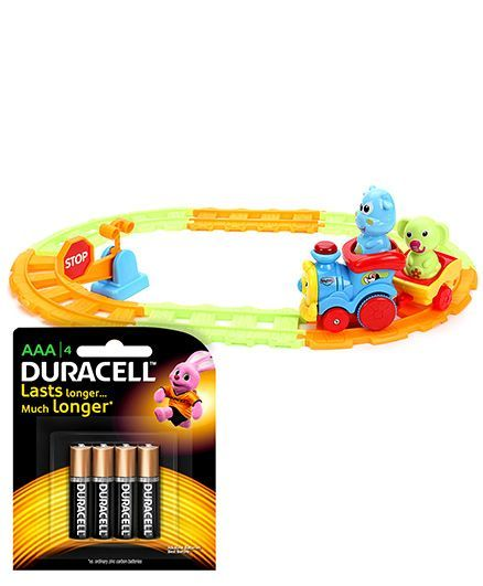 Mitashi Skykidz Zooming Merry Train Playset - Red Blue Orange and  Duracell AAA Size Batteries - Pack Of 4