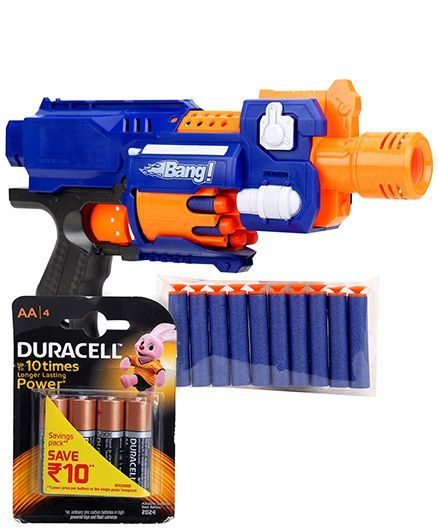 Mitashi Bang Seagull Toy Gun - Blue and  Duracell AA Batteries - Pack Of 4