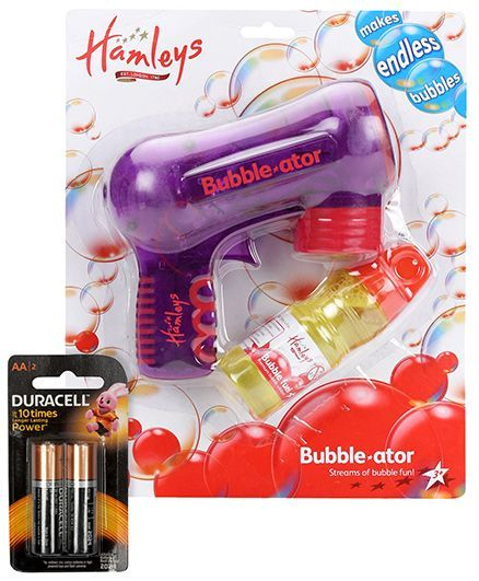 Hamleys Bubble Ator - Purple and Duracell AA Batteries - Pack of 2