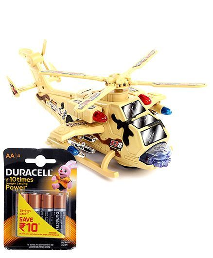 Chhota Bheem Battery Operated Transformer Helicopter and  Duracell AA Batteries - Pack Of 4