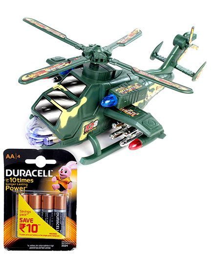 Chhota Bheem Transformer Helicopter - Green and Duracell AA Batteries - Pack Of 4