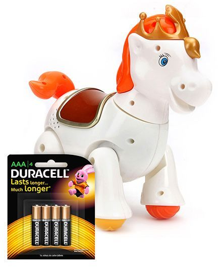 Mitashi Skykidz Jungle Rumble Horse - White and  Duracell AAA Size Batteries - Pack Of 4