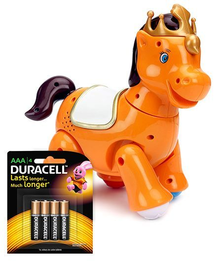 Mitashi Skykidz Jungle Rumble Horse and Duracell AAA Size Batteries - Pack Of 4