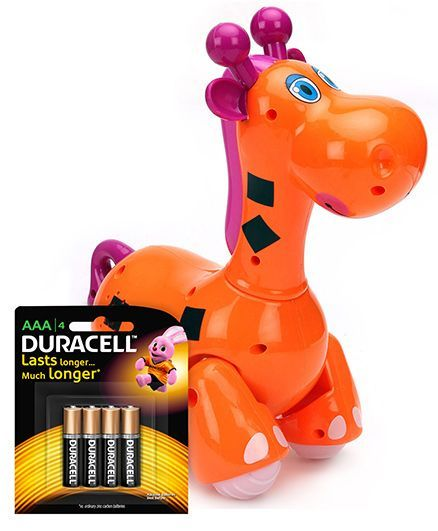 Mitashi Skykidz Jungle Rumble Giraffe - Orange and  Duracell AAA Size Batteries - Pack Of 4