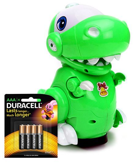 Mitashi Skykidz Pet Party Crocodile - Green and  Duracell AAA Size Batteries - Pack Of 4