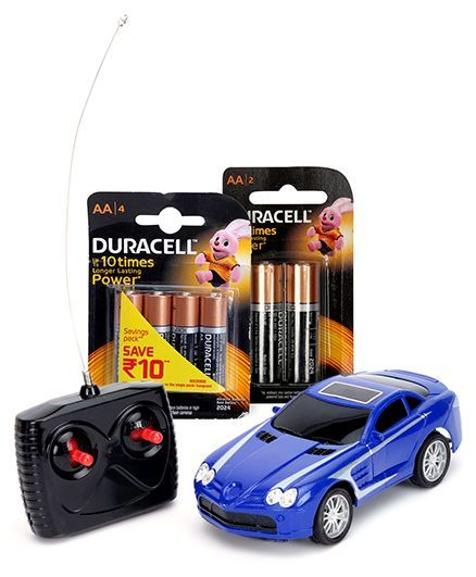 Majorette Remote Control Car MCL 22 - Blue and  Duracell AA Batteries - Pack Of 4 and  Duracell AA Batteries - Pack of 2