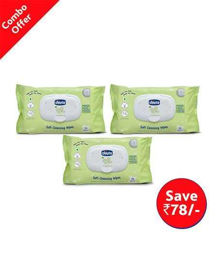 Chicco Baby Moments Soft Cleansing Wipes 72 Wipes (Pack of 3)
