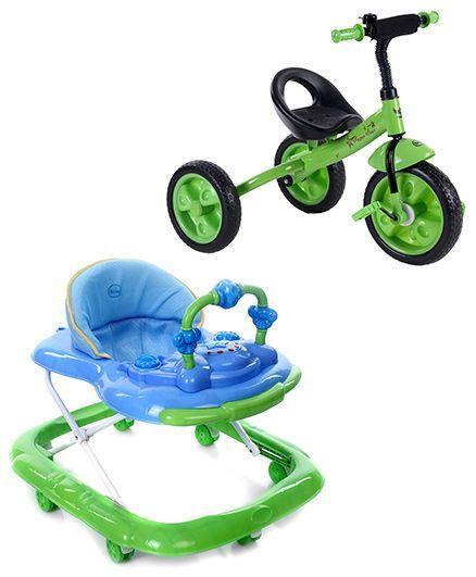Babyhug My Toyfun Musical Walker - BlueAnd Babyhug My Robust Tricycle - Green