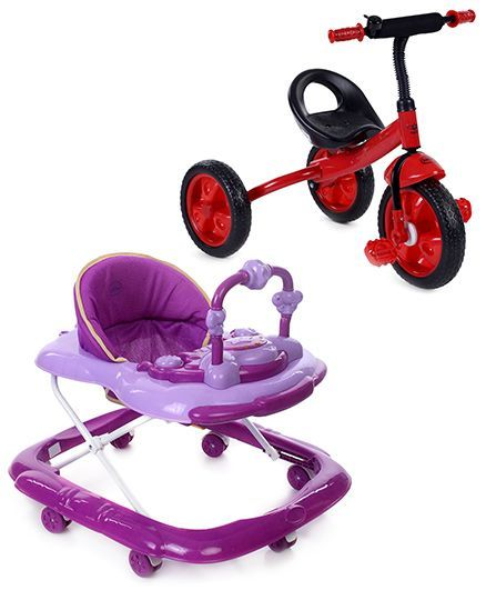 Babyhug My Toyfun Musical Walker - Purple And Babyhug My Robust Tricycle - Red