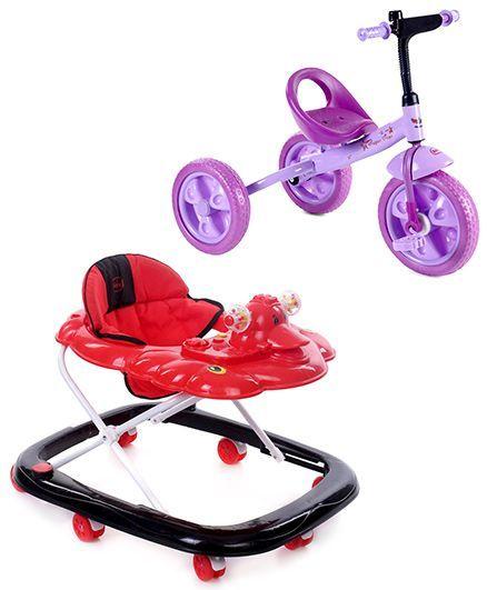 Babyhug Happy Duck Musical Walker - Red And Black And Babyhug My Robust Tricycle - Purple