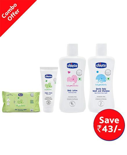 Chicco Baby Moments Soft Cleansing Wipes - 20 Pieces PlUS Chicco Nappy Cream - 20 ml PLUS Chicco Baby Moments Body Lotion - 100 ml PLUS Chicco - Gentle Body Wash And Shampoo