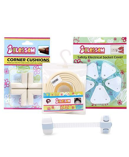 Blossom Child Proofing Electrical Socket Cover - Pack of 5 and Blossoms Multi Utility Latch - Blue and Blossom Child Proofing's Corner Cushions - Off White and Blossom Child Proofing Sharp Edge Protec