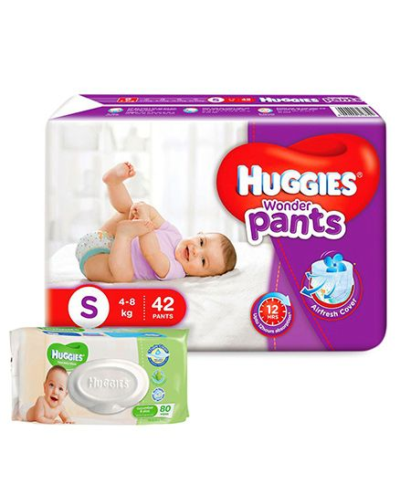 Huggies Wonder Pants Small Pant Style Diapers - 42 Pieces & Huggies Cucumber And Aloe Thick Baby Wipes - 80 Pieces
