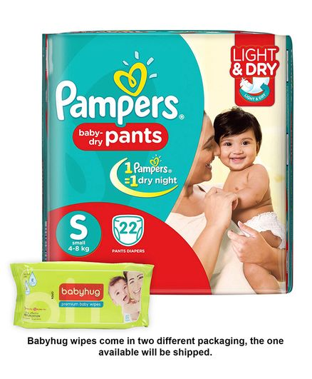 Pampers Pant Style Diapers Light And Dry Small - 22 Pieces & Babyhug Premium Baby Wipes - 80 Pieces