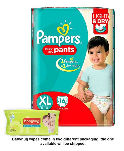 Pampers Pant Style Diapers Light And Dry Extra Large - 16 Pieces & Babyhug Premium Baby Wipes - 80 Pieces
