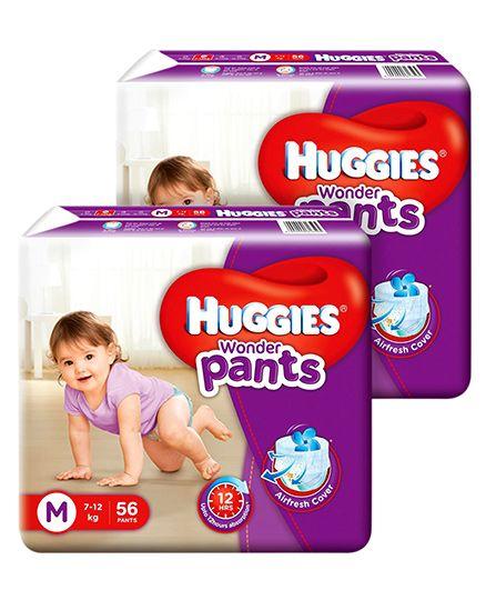 Huggies Wonder Pants Medium Size Pant Style Diapers - 56 PiecesPack Of 2
