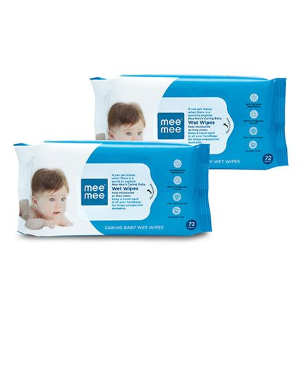 Mee Mee Caring Baby Wet Wipes - 72 Pieces - Pack of 2