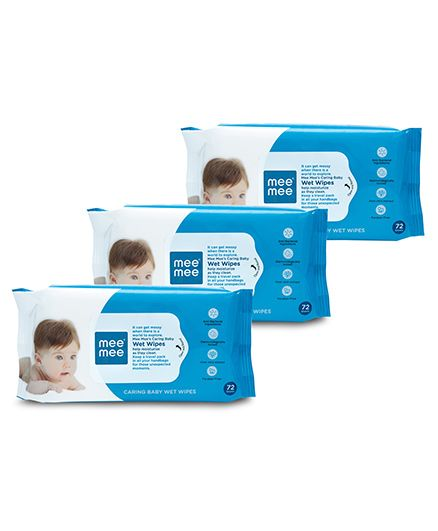 Mee Mee Caring Baby Wet Wipes - 72 Pieces- Pack of 3