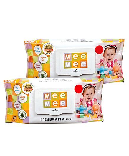 Mee Mee Premium Wet Wipes - 80 Pieces-Pack of 2