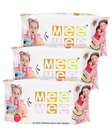 Mee Mee Caring Baby Wet Wipes - 30 Pieces- Pack of 3