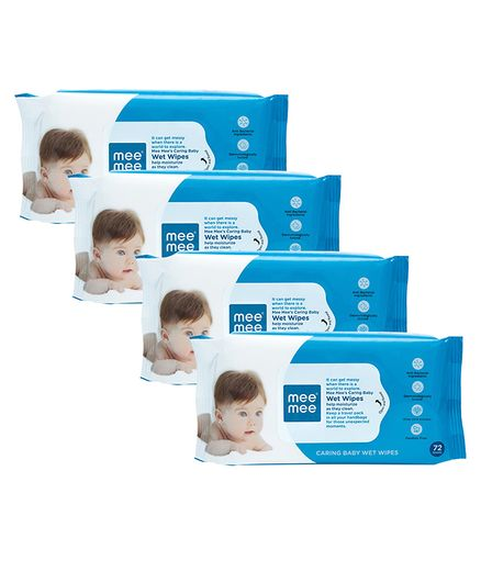 Mee Mee Caring Baby Wet Wipes - 72 Pieces- Pack of 4