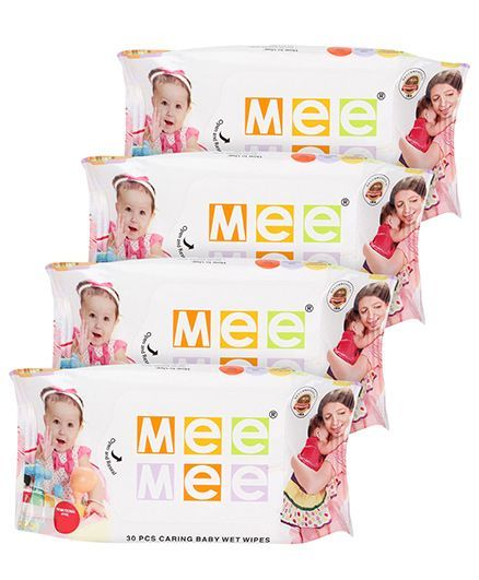 Mee Mee Caring Baby Wet Wipes - 30 Pieces- Pack of 4