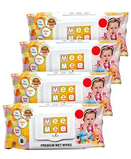 Mee Mee Premium Wet Wipes - 80 Pieces- Pack of 4