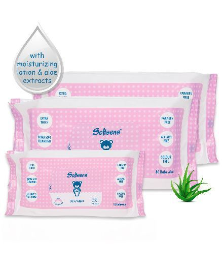 Softsens Baby Wipes - 80 Pieces(Pack of 2) AND Softsens Baby Wipes - 20 Pieces