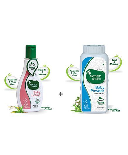Mother Sparsh Ayurvedic Baby Powder - 100 gm AND Mother Sparsh Ayurvedic Baby Lotion - 100 ml
