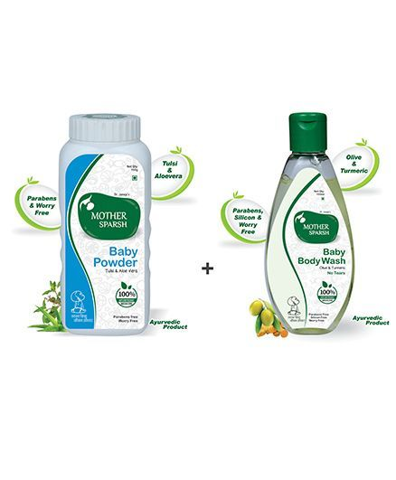 Mother Sparsh Ayurvedic Baby Powder - 100 gm AND Mother Sparsh Ayurvedic Baby Body Wash - 100 ml