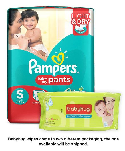 Upto 50% Off On Pampers By Firstcry | Pampers Pant Style Diapers Light And Dry Small - 8 Pieces & Babyhug Premium Baby Wipes - 80 Pieces @ Rs.120