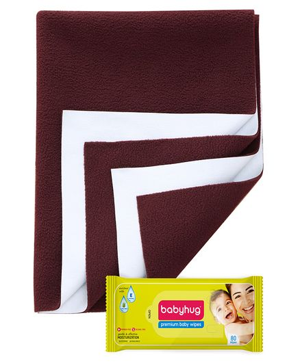 Babyhug Premium Baby Wipes - 80 Pieces AND Quick Dry Bed Protector Small - Maroon