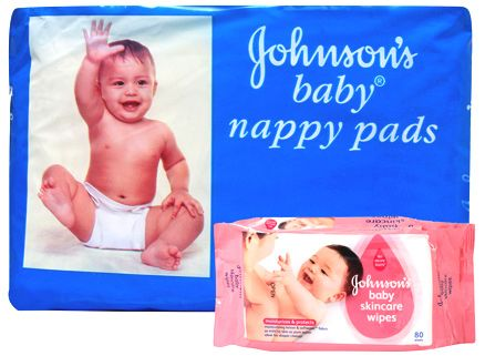 Johnson's - Baby Nappy Pads 10 pads and Johnsons Baby Skincare Wipes 80 Pieces (Set of 2)