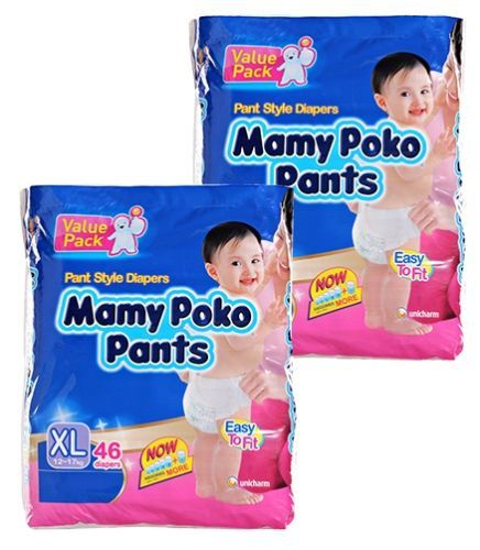 Mamy Poko Pants Pant Style Diapers Size XL (12 - 17 kg), 46 (Combo pack of 2)