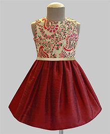A.T.U.N Henna Maria Scarlet Embroidered Dress - Multicolour & Maroon