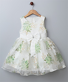 WhiteHenz Clothing Floral Bow Applique Dress - Green
