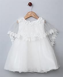 WhiteHenz ClothingNet Embellished Dress With Princess Cape - White