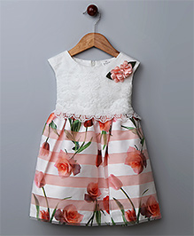 WhiteHenz Clothing Embroidered Dress With Floral Print- Peach