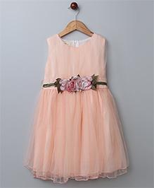 WhiteHenz Clothing Rose Applique Belt Dress - Peach