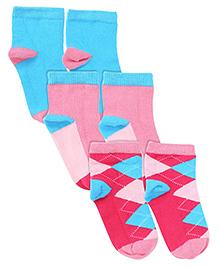 Mustang Set Of 3 Multi Print Socks - Pink Sky Blue Dark Pink