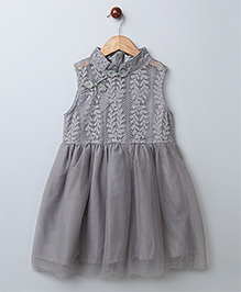 WhiteHenz Clothing Beautiful Lace Applique Collar Dress - Grey
