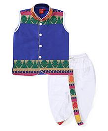 Ethnik's Neu-Ron Sleeveless Kurta And Dhoti Set - Royal Blue And White