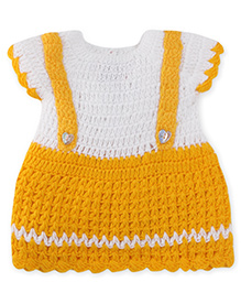 Rich Handknits Cap Sleeves Woolen Dress - Yellow & White